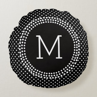 Bolinhas preto e branco da modificação com almofada redonda