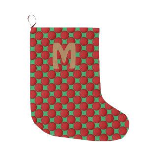 Bolinhas vermelhas à moda modernas do monograma meia de natal grande