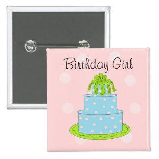 Bolo azul - menina do aniversário bóton quadrado 5.08cm