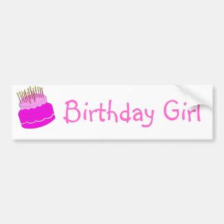 Bolo da menina do aniversário adesivo para carro