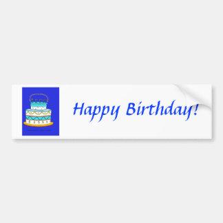 Bolo de aniversário azul adesivo para carro