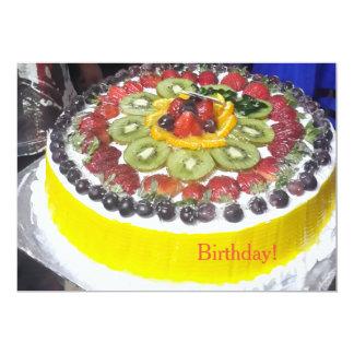 Bolo de aniversário colorido! convite 12.7 x 17.78cm