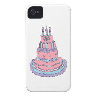 Bolo de aniversário cor-de-rosa bonito capa de iPhone 4 Case-Mate
