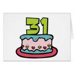 Bolo de aniversário das pessoas de 31 anos cartao