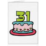 Bolo de aniversário das pessoas de 31 anos cartões