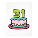 Bolo de aniversário das pessoas de 31 anos convites personalizado