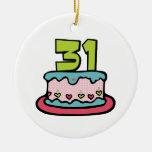 Bolo de aniversário das pessoas de 31 anos ornamento para arvores de natal