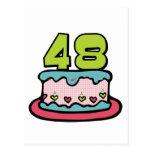 Bolo de aniversário das pessoas de 48 anos cartões postais