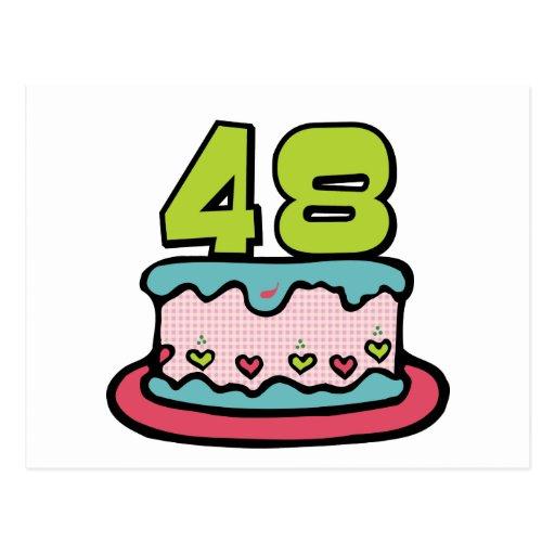 Bolo de aniversário das pessoas de 48 anos cartão postal