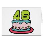 Bolo de aniversário das pessoas de 48 anos cartões