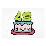 Bolo de aniversário das pessoas de 48 anos convites personalizado