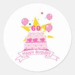 Bolo de aniversário das pessoas de 60 anos adesivos