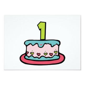 Bolo de aniversário de 1 ano convite 12.7 x 17.78cm