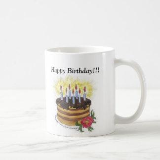 Bolo de aniversário feliz aniversario canecas