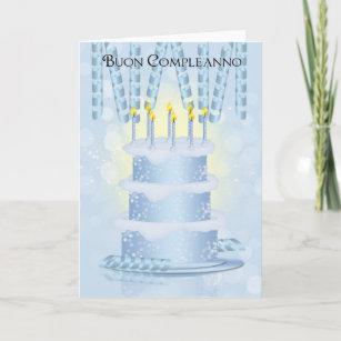 Bolo de aniversário italiano e velas do cartão eaca41002099d