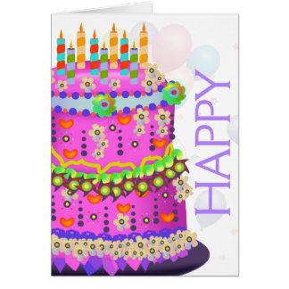 """""""Bolo do feliz aniversario"""" & balões - cartão de"""