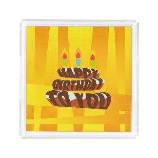 Bolo do feliz aniversario da ilustração com velas bandeja de acrílico