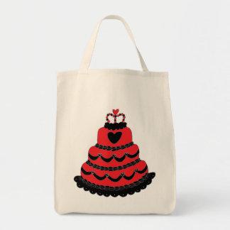 Bolo gótico dos corações vermelhos bolsas para compras