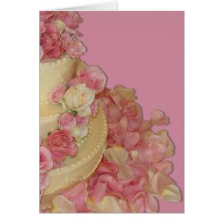 Bolo & rosas de casamento cartão comemorativo