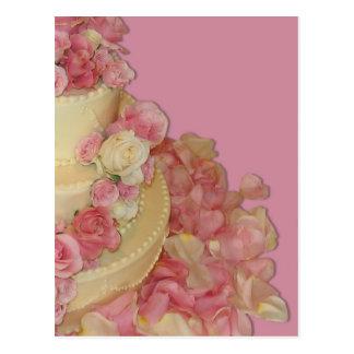 Bolo & rosas de casamento cartões postais