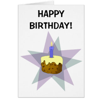 Bolo & vela do feliz aniversario cartão comemorativo