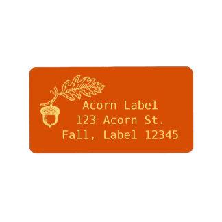 Bolota retro da laranja da queda do outono bonito etiqueta de endereço