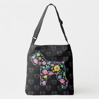 Bolsa Ajustável Amor bonito meu design floral do Schnauzer