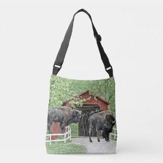 Bolsa Ajustável Bisonte americano engraçado na ponte coberta