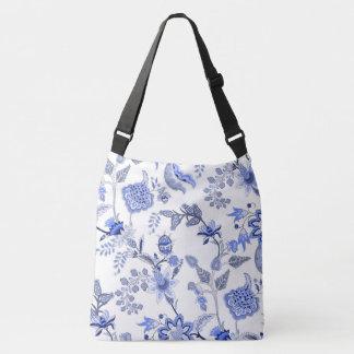 Bolsa Ajustável Chintz - floral azul no fundo branco