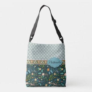 Bolsa Ajustável Escudos e design azuis das flores