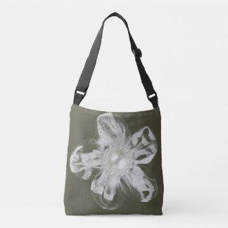 Bolsa Ajustável Flor branca de tulle na obscuridade - cinza
