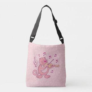Bolsa Ajustável Gato cor-de-rosa com violino