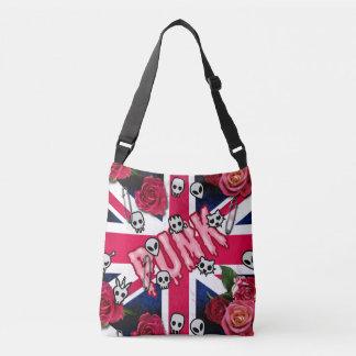 Bolsa Ajustável Grunge cor-de-rosa Union Jack do punk com Emojis e