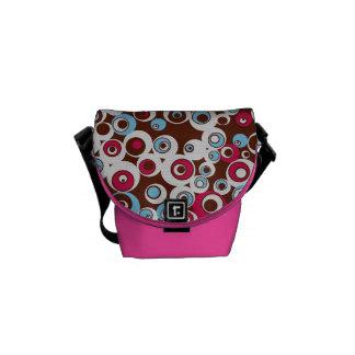 Bolsa Carteiro A bolsa mensageiro cor-de-rosa dos círculos retros