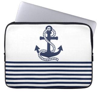Bolsa de laptop náutica do azul marinho/a branca bolsas e capas para computadores