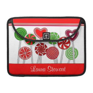 Bolsa MacBook Pro Luva bonito da aleta dos pirulitos do Natal