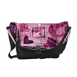 Bolsa Mensageiro Abstrato cor-de-rosa do coração