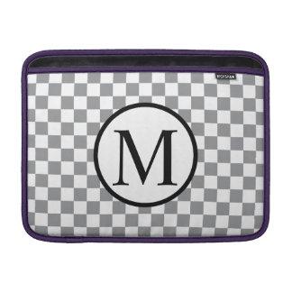 Bolsa Para MacBook Air Monograma simples com tabuleiro de damas cinzento