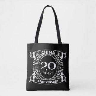 Bolsa Tote 20a porcelana do aniversário de casamento