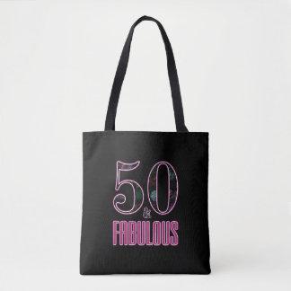 Bolsa Tote 50 & aniversário da tipografia cor-de-rosa preta