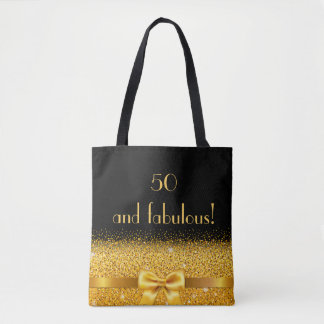 Bolsa Tote 50 e arco dourado chique fabuloso com preto da