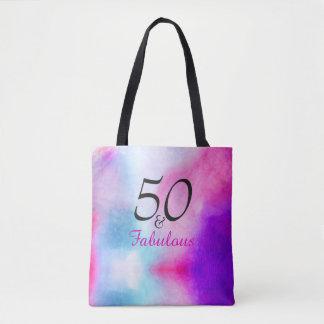 Bolsa Tote 50 e rosa e roxo fabulosos do aniversário de |