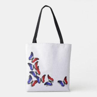Bolsa Tote A borboleta francesa embandeira o saco