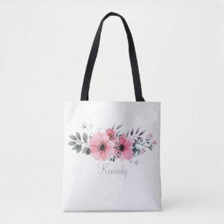 Bolsa Tote A cinza cor-de-rosa pintada bonita floresce a