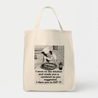 Bolsa Tote A feminista engraçada faz-me um sanduíche