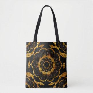 Bolsa Tote A mandala retro do preto do ouro pelo Sequin sonha