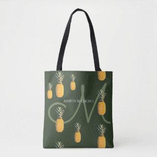 Bolsa Tote abacaxis com conhecido e o inicial em verde escuro