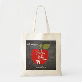 Bolsa Tote Aluno vermelho do quadro-negro da maçã do tribo |