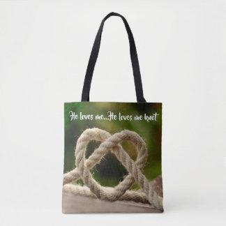 Bolsa Tote Ama-me, ama-me sacola do nó da corda (não)