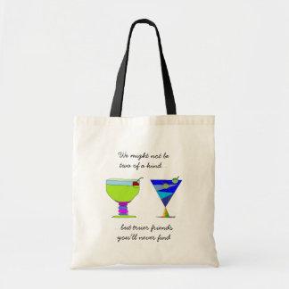 Bolsa Tote Amigos verdadeiros que dizem bebidas de n